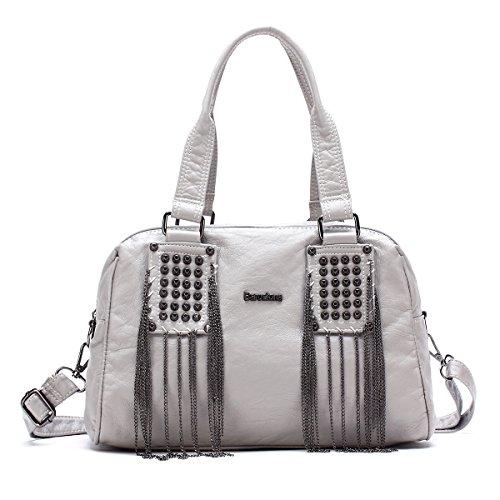 BARCELONA21K 2 Top Cerniere Borse Purses pelle lavata Tracolle Tote Bags XS160514 (Grigio)