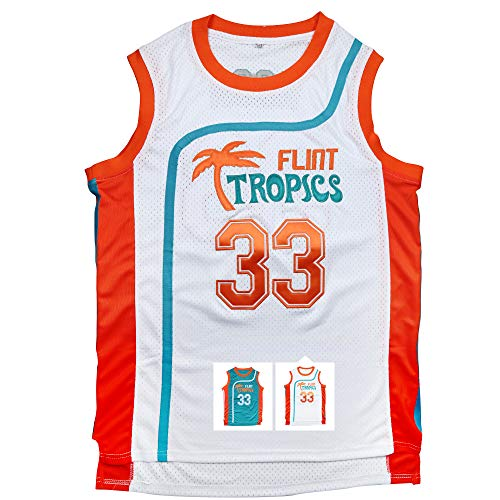 Micjersey Flint Tropics Jersey Moon 33 Basketball Jerseys for Men S-XXXL (White, L)