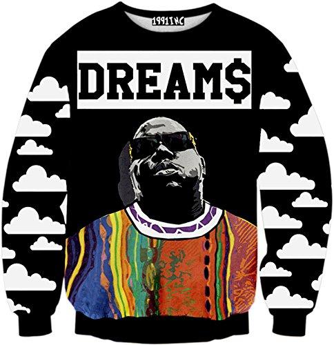 PIZOFF Unisex Hip Hop Sweatshirts mit 3D Digital Print 3D Muster bunt bemalten Figuren Y1759-N8-M