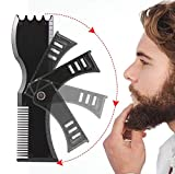 Rotary Beard Shaper ,Adjustable Beard Shaping Tool Comb and Styling Template - Beard & goatee stencil Tool comb for Men (Black)