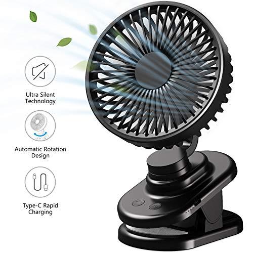 AWAVO USB Tischlüfter Mini Clip Lüfter mit leisem Betrieb und automatischer 90 ° Drehung, Desktop Lüfter mit 5000 mA Akku und 3 Gang Einstellung, ideal für das Home Office im Freien