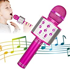 KIDWILL Wireless Bluetooth Karaoke Microphone, 5-in-1 Portable Handheld Karaoke Mic Speaker Player Recorder with Adjustable Remix FM Radio for Kids Adults Birthday Party KTV Christmas (Hot Pink)