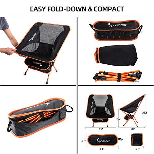 Sportneer 2 Pack Camping Chairs, Portable Backpacking Folding Camp Chair, Small Lightweight Collapsible Camping Chair for Outdoor Camping, Backpacking, Hiking, Picnic, Travel, Festival