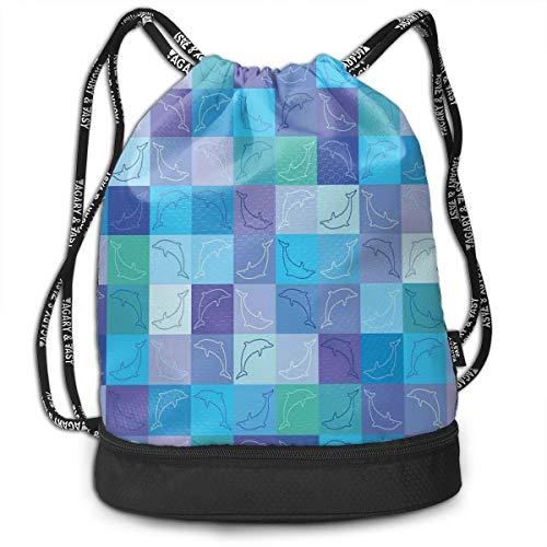 Printed Drawstring Backpacks Bags,Playful Dolphin...