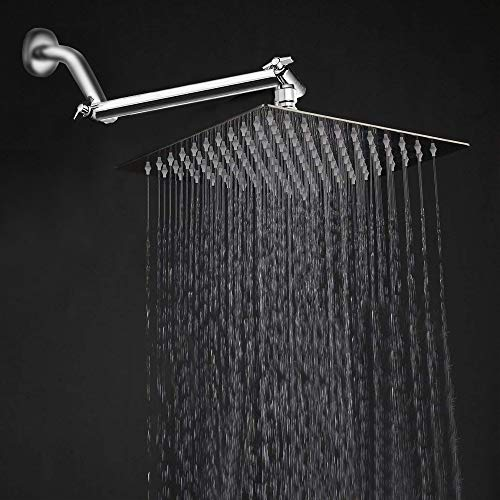 HarJue High Pressure Large Stainless Steel Square Rain ShowerHead With Shower Arm Waterfall Full Body Coverage Easy to Clean and Install (10'' Square Shower Head with Arm, Chrome Finish)