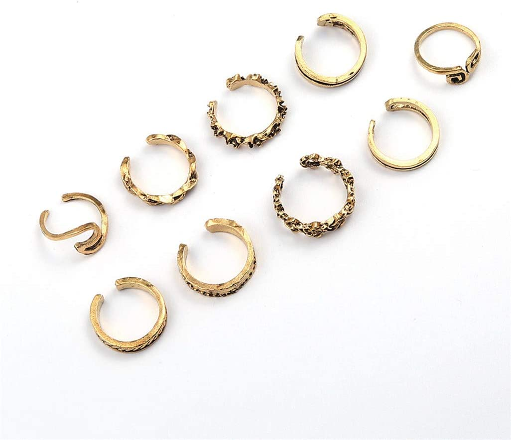 WEILYDF 9 Pcs/Set Retro Knuckle Foot Ring Wave Open Toe Rings Finger Accessories Summer Jewelry Gift for Women Girls,Golden