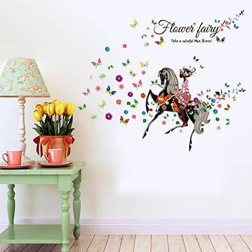 ZYBKOG Wandaufkleber Cartoon Ritter Wandaufkleber Blumen Schmetterling Chambre D'Enfan Wandaufkleber Für Kinderzimmer Wohnkultur Wandtatt