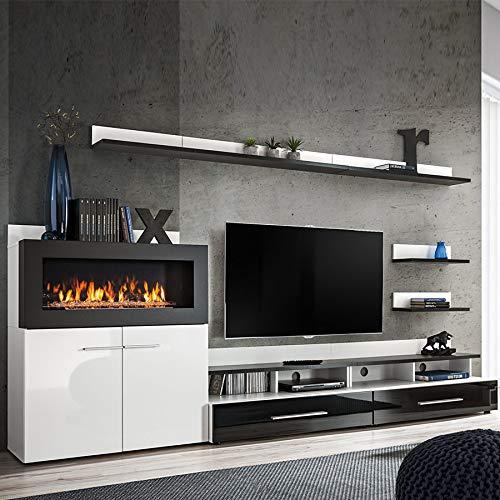 MARTANO TV-meubel met opslag en open haard, zwart gelakt