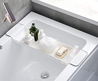 (新包装)バスタブトレー お風呂テーブル バスタブラック 浴室用ラック バステーブル キッチンラック バスラック 伸縮式 ズレ防止 大容量 水切り お風呂用品 雑貨置き台 (ホワイト)