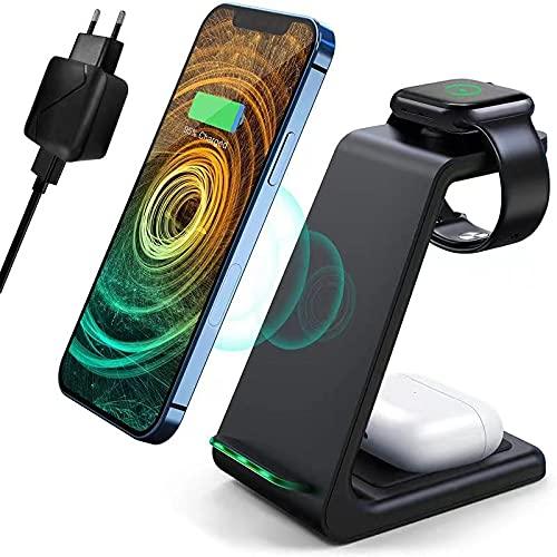 mobi mountain Caricatore Wireless, 3 in 1 Ricarica Wireless Supporto di Caricabatterie Senza Fili Docking per Apple Watch 6/5/4/3/2/1, per iPhone 12 Pro/12/SE 2020/11 Pro/XS/XR/X e AirPods Pro/2