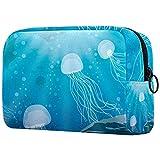 Bolsa de aseo de viaje fácil organización para hombres o mujeres medusas subacuáticas mar azul 18,5 x 7,5 x 13 cm