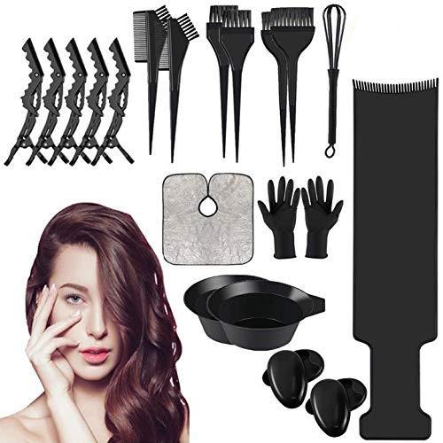 Haare Faerben Set Profi DIY Haarfärbepinsel Färbeschale Kamm Haarspange Haare-Kappe Handschuh Ohrbedeckung zum Haarfärben (SET 22)