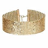 Tpocean Collier ras-du-cou multicouche en métal doré brillant style rétro punk unique pour fête de mariage, bal de promo, bijoux pour femmes et filles