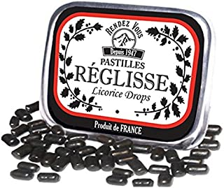 Licorice Drops Candy Pastilles from France Candies in Retro Tin (Pack of 3)