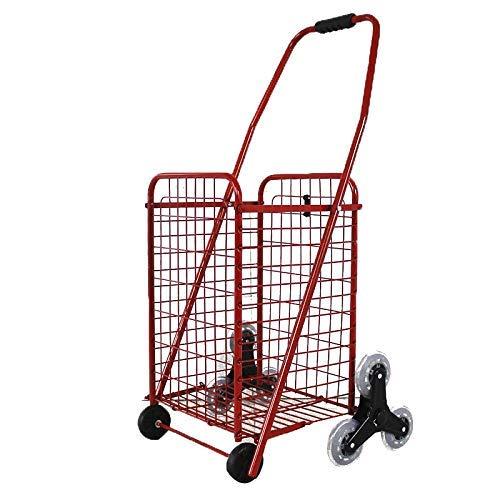 GQQ Utility Cart Faltbarer Eisentreppen-Kletterwagen, 77 Pfund Kapazität Einkaufswagen, Startseite 8 Runden Älterer Wagen, Perfekt Zum Einkaufen, Camping,Rot