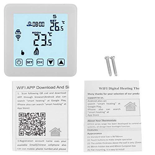 YUQIYU Termostato LCD, Wi-Fi blanca inteligente termostato programable de calefacción con 3.39x3.39x1.57in Tamaño de Control del balón Válvula motorizada válvula motorizada
