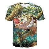 T-Shirt De Pesca Masculina De Verão Impressão 3D Casual Manga Curta 3D Casual Elegante Tops,XXL