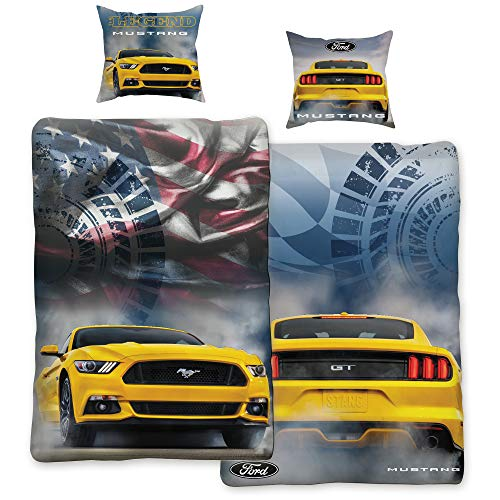 Ford Mustang Bettwäsche Legend Gelb / Blau 135 cm x 200 cm + 80 cm x 80 cm Stang Pony-US-Muscle-Car 100% Baumwolle in Renforcé-Linon-Qualität Shelby GT 2 Motive Wendebettwäsche Reißverschluss 008