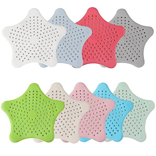 Zeaye 9 colori del collettore di scarico capelli Starfish con forti ventose in silicone Abflusssieb e tappo capelli per doccia, vasca, lavandino e lavandino - Mantiene fognature privo di capelli