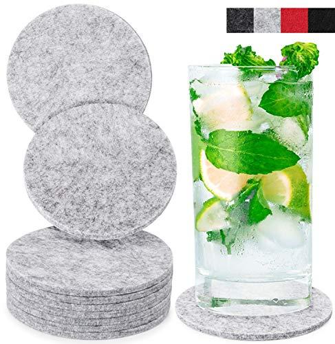 Miqio® Design Glasuntersetzer - Waschbar - 10er Set Getränke Untersetzer (Graumeliert)