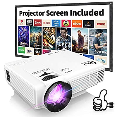 DR.J 1500Lumens 4Inch Mini Projector with 170 Inch Display - 40,000 Hour LED Full HD Video Projector, Compatible with HDMI, VGA, USB, AV, SD (1080P Supported)
