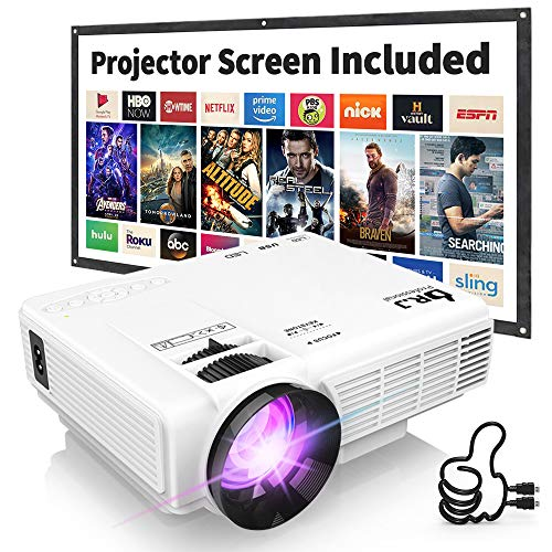 DR. J Professional HI-04 1080P Supported Portable Movie Projector, 3600L Mini...