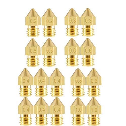 Zrong Nozzle for 3D Printer 18Pcs M6 Brass Extruder Head Hotend Nozzles 0.2/0.3/0.4/0.5/0.6/0.8/1.0 mm fit for 1.75mm Filament