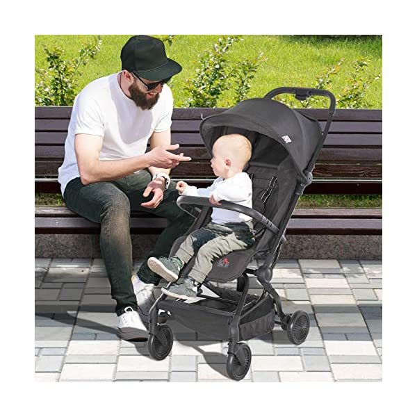 HOMCOM Lightweight Baby Stroller Pushchair Buggy Adjustable Reclinable Back Aluminum Frame, Five Point Harness, One Hand Foldable, Storage Basket, Suspension Wheels for 0-36 Months HOMCOM ✅ADJUSTABLE COMFORT: Adjustable seat back angle of 105°-170°, reclinable footrest can be adjusted in 3 gears, the adjustment angle is 31 °, 55 °, 78 °, retractable canopy provide personalized comfort and usability. ✅SAFE FEATURES: Four universal and impact absorbing wheels for smooth rolling, rear wheel with brakes for easy parking, as well as an adjustable five-point safety harness to keep them securely strapped in . ✅FOLDABLE & LIGHTWEIGHT: One-click opening and folding design, easy to put away when not needed, great for when you 're travelling by car. Safety guard is removable for less storage space. 6