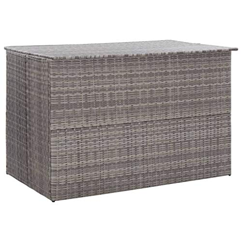 vidaXL Garden Storage Box Weather and Water Resistant Patio Outdoor Storage Chest Bench Store Blanket Cushion Pillow Grey 150x100x100cm Poly Rattan