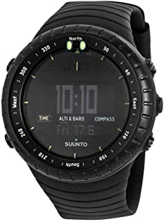 Suunto Core All Black Digital Display Quartz Watch, Black Elastomer Band, Round 49.1mm