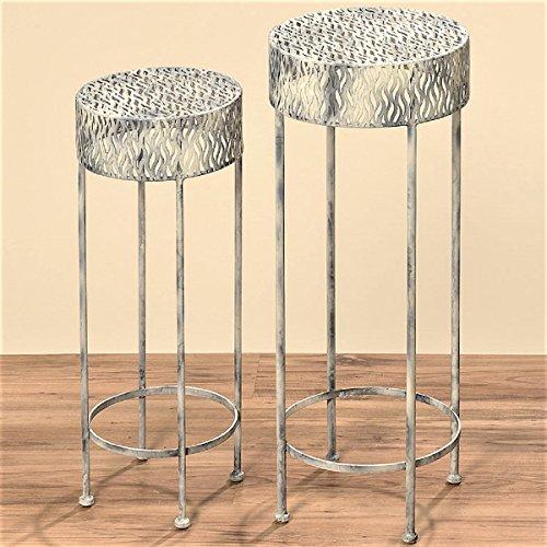 Geschenkestadl 2 Beistelltische Set 65 cm und 75 cm hoch aus Eisen Planztisch Tisch