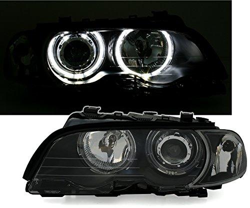 LED Angel Eyes Scheinwerfer Set in Klarglas Schwarz, inkl. Blinker