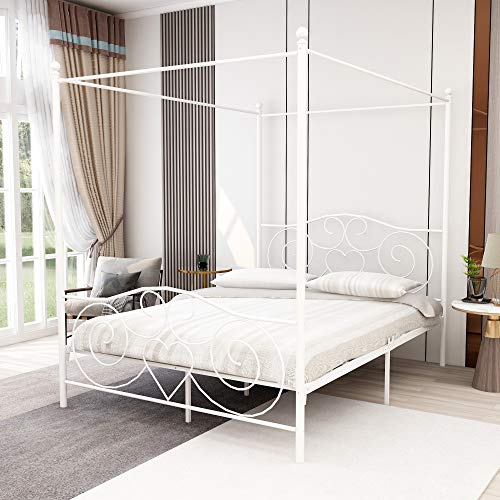 Full Size Canopy Bed with Sturdy Metal Bed Frame,White