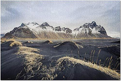 YYTOOF HD Stokksnes Islandia - Black Hills y montañas Nevadas 9026546 (19x27 Premium 1000 Piece Jigsaw Puzzle Made in USA!)
