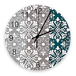 Red Vow Art Wooden Wall Clock for Living Room Decor,Classical Chateau Striped Floral Pattern Chic Silent Battery Operated Hanging Office Wall Clocks