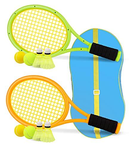 Crefotu Kids Tennis Racket,17 Inch Plastic Tennis Racket with 2 Soft Balls,2 Tennis Balls and 4 Shuttlecocks for Kid,Toddler Outdoor/Indoor Sport Play (Green&Yellow)