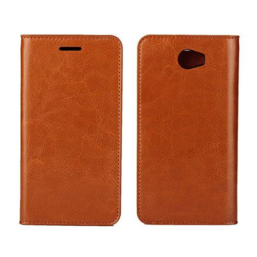 Copmob Hülle Huawei Y5II/Y6 II Compact Handyhülle,Flip Brieftasche Ledertasche Handyhülle,[3 Kartenfach][Stand-Funktion][Stoßfestes TPU],Schutzhülle fur Huawei Y5II/Y6 II Compact - Hellbraun