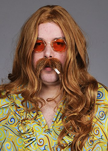 Perruque hippie longue châtain Mens 70 s Deluxe