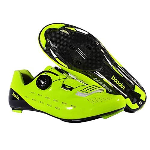 Zapatillas de Bicicleta Montaña Fibra Carbono Calzado Bicicleta Zapatos de Bicicleta Antideslizantes Transpirables para Hombres para Ciclismo Carretera de montaña B,Green,42