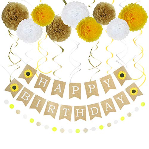 LITAUS Birthday Decorations,Sunflower Happy Birthday Decorations for Women, Happy Birthday Banner, Hanging Swirls, Paper Garland and Flowers for Baby Shower, Sunflower Wedding, Party Decorations