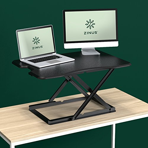 Zinus Tina Smart Adjust Standing Desk / Adjustable Height Desktop Workstation / 32