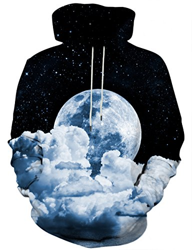 Hgvoetty Unisex 3D Print Hoodies for Adults Pullover Galaxy Moon Sweatshirt for Teens M
