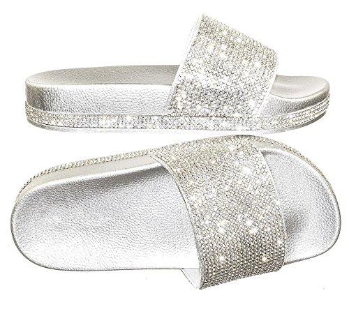 Forever Link Viste-07 Rhinestone Glitter Slide Slip On Flatform Footbed Sandal Slippers (7, Silver-07)