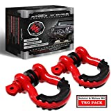 AUTMATCH Shackles 3/4' D Ring Shackle (2 Pack) 41,887Ib Break Strength with 7/8' Screw Pin and Shackle Isolator & Washers Kit for Tow Strap Winch Off Road Vehicle Recovery Red