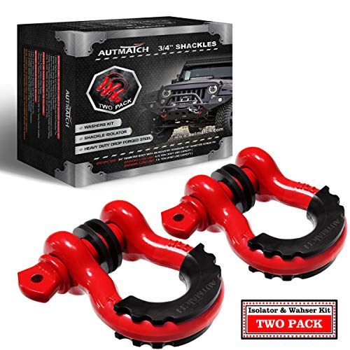 """AUTMATCH Shackles 3/4"""" D Ring Shackle (2 Pack) 41,887Ib Break Strength with 7/8"""" Screw Pin and Shackle Isolator & Washers Kit for Tow Strap Winch Off Road Accessory Vehicle Recovery Red"""