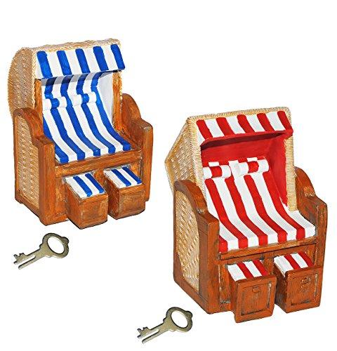alles-meine.de GmbH XL Spardose - Strandkorb für Reisekasse & Urlaubsgeld - stabile Sparbüchse aus Kunstharz mit Schlüssel - Sparschwein lustig witzig Strandbad - Urlaubskasse - ..