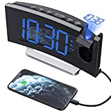 Mpow Reloj Despertador Digital, Radio Despertador Proyector con Puerto USB, Alarma Dual con 5 Sonidos e 3 Volúmenes, 0-100%...