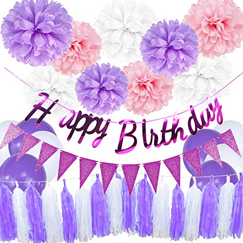 Purple Rose Red Birthday Party Decorations Set Purple Happy Birthday Banner Triangle Banner Tissue Ppaer Flowers and Tassels for Girls Birthday Party Supplies