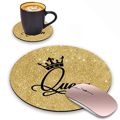 Round Mouse Pad with Coasters Set, Gold Glitter Quotes Crown Queen Design Mouse Pad, Non-Slip Rubber Base Mouse Pads for Laptop and Computer Office Accessories