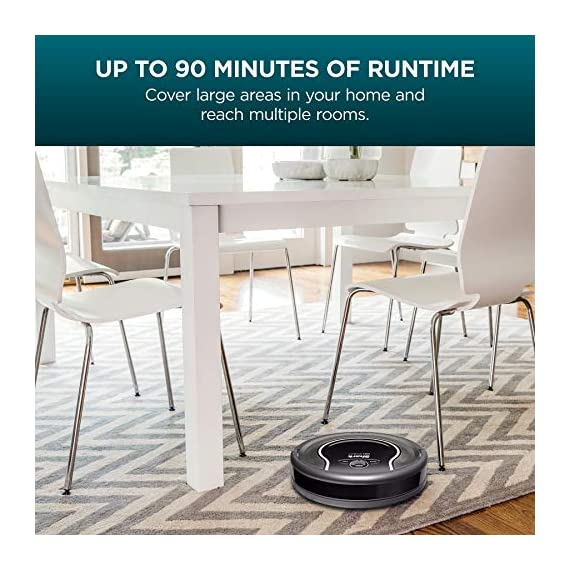 Shark ION Robot Vacuum R75 with Wi-Fi and Voice Control, 0.45 Quarts, in Smoke and Ash 6 THREE BRUSH TYPES. ONE POWERFUL CLEAN: Tri-Brush System combines side brushes, channel brushes, and a multi-surface brushroll to handle debris on all surfaces. COMPLETELY INTEGRATED IN YOUR HOME: Shark ION Robot senses ledges and stairs, avoids damaging furniture and walls, and maneuvers around potential stuck situations, truly knowing your home. CLEAN FROM YOUR PHONE: SharkClean app lets you start and stop cleaning and schedule your robot to clean whenever you want.